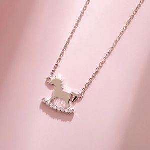 NEW 925 SILVER PLATED ROCKING HORSE NECKLACE